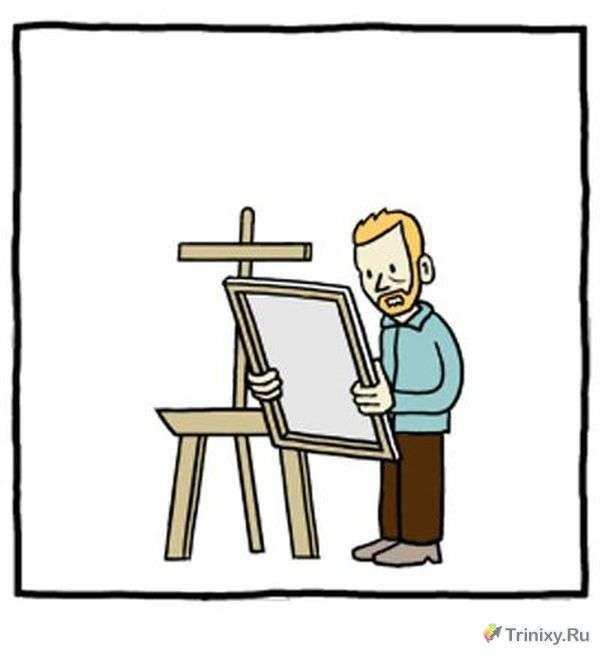 Історія відомого художника в забавному коміксі (3 картинки)